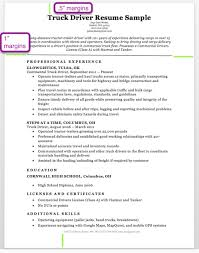 truck driver resume margins sample