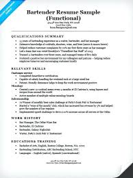 Examples Of A Functional Resume Bartender Sample Thekindlecrew Com