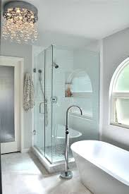 bathroom chandeliers crystal waterfall chandelier by shower and stand alone tub home improvement s open now bathroom chandeliers crystal