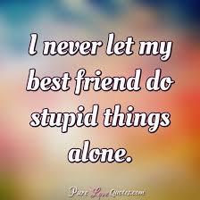 I Never Let My Best Friend Do Stupid Things Alone PureLoveQuotes Gorgeous Stupid Quotes