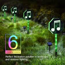 Green Solar Lights Fanshunlite Solar Lights Outdoor Led Color Changing Solar Stake Lights Outdoor Solar Light Led Garden Music Notes Decor Patio Lights Led Outdoor