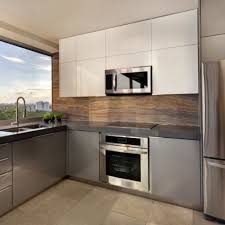 Stainless Steel Base Cabinets And Creative Wood Backsplash Feat French Door Refrigerator With Freezer Compartment Hong Kong Kitchen Williston Parkjpg