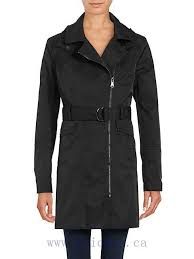 vince camuto belted asymmetrical zip trench coat long sleeves with exposed zipper cuffs women coats