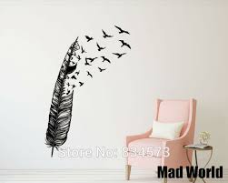 mad world feather flying bird silhouette wall art stickers wall decal home diy decoration removable on bird silhouette wall art with mad world feather flying bird silhouette wall art stickers wall