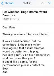 Female theatre director has amazing response to job rejection ... Email received after woman applies for a director role and is told a man would be