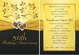 50th Anniversary Invitation Cards Wedding Templates Archives Golden
