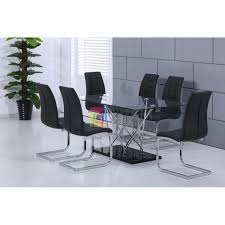 high quality designer gl dining table with 4 or 6 black faux leather chairs loading zoom