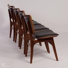 vintage 60s furniture. Four Vintage Teak Dining Chairs With Black Imitation Leather, 60s | Mid Century Design Furniture N