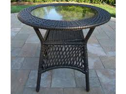 furniture round wicker table with four chairs outdoor set dining glass top basket end drop