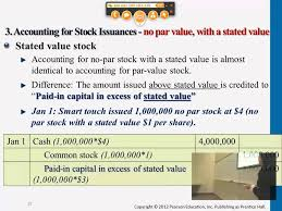 Accounting For Stock Issuances No Par Value With Stated Value