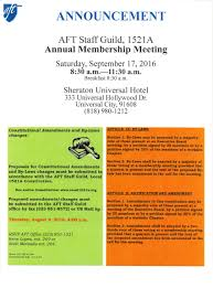 Aft College Staff Guild Local 1521a Annual Membership Meeting Details
