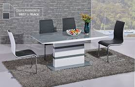 grey dining room furniture. White High Gloss Grey Glass Dining Table And 6 Chairs Faux Leather Room Furniture