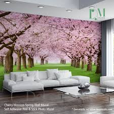 Wall Mural For Living Room Nature Wall Mural Chery Blossom Pathway On A Green Lawn Cherry