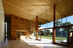 ... Floor To Ceiling Glass Walls. Magnificent Spacious House Using Wooden  Materials: Open Interior Plan With Wooden Plank Ceiling And Wooden