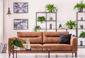 brown leather sofa in the middle of