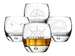 personalized 10 75 oz nautical heavy based whiskey glasses set of 4 personalized gifts and party favors