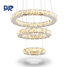 modern led crystal ring chandelier lighting remote control 2 3 rings crystal light fixture circles lamp re suspension
