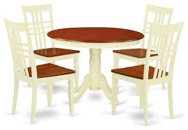 5 piece set with a round kitchen table and 4 leather kitchen chairs farmhouse dining sets by bisonoffice