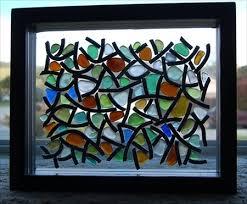 sea glass mosaic lamp