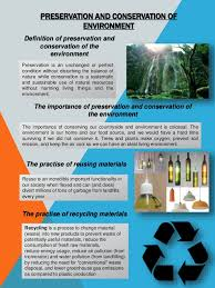 preservation and conservation of environment