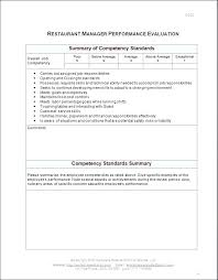 Job Evaluation Template Restaurant Manager Performance Evaluation Form Competency Assessment ...
