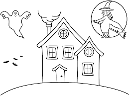 Small Picture Haunted House with witch Coloring Page Halloween