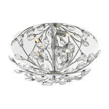 zafir crystal and chrome flush ceiling light
