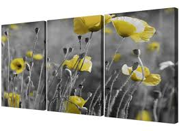 black and white canvas with grey and yellow poppies wall art intended for well liked yellow