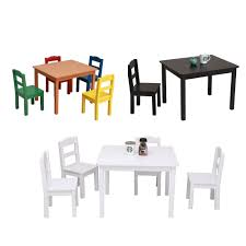 Child 5 Piece Dining Table Set Chair Wood Kitchen Breakfast