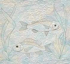 200 best Free motion quilting 2 images on Pinterest   Free motion ... & Free Motion Quilted Fish Adamdwight.com