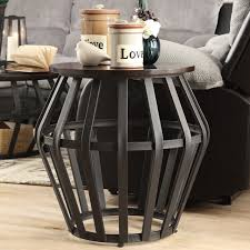 round end nightstand bedside table metal frame cage modern living room furniture