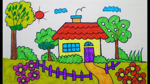 How To Draw House Coloring Pages Drawing For Children Learning