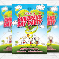 two sided flyer template free childrens day party two sided premium flyer template
