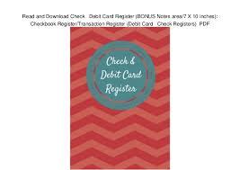 Checkbook Register Downloads Read And Download Check Debit Card Register Bonus Notes Area 7 X 1