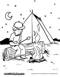 FUN - printable coloring sheet - boy roasting marshmallows over ...