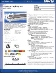 Howard Lighting High Bay Mid Power Vaporproof Highbay Led Vhl2 Series Specification