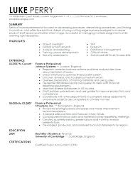 Sample Finance Resumes Sample Resume For Finance Finance Resumes