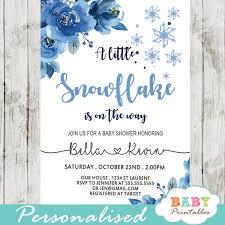 Snowflake Baby Shower Invitations Winter Blue Snowflake Baby Shower Invitations D402 Baby Printables
