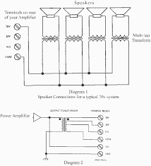 70 volt speaker troubleshooting the two diagrams below represent a typical 70 volt pa system diagram 1 shows how speakers are hooked to the amplifier terminals note that one side of your