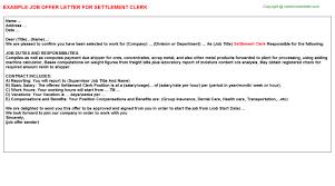 settlement clerk fer Letter