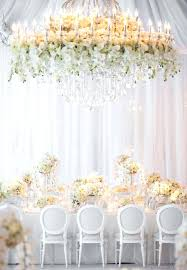 flower chandelier wedding white beautiful wedding reception and ceremony decor ideas fl chandelier bridal party table