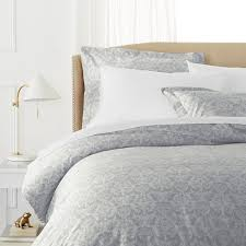 com pinzon paris printed egyptian cotton sateen duvet set full queen light gray home kitchen