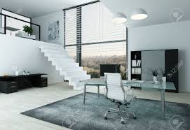 mezzanine office. Modern Home Office Interior With Desk, Chair And Mezzanine Stock Photo - 29180841