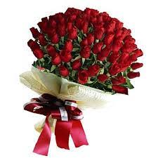 50 red roses hand tied bouquet