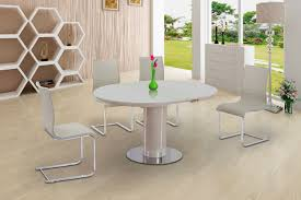 eclipse round oval gloss glass extending 110 to 145 cm dining table cream