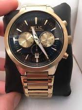 mens relic watch relic men s wrigley gold tone chronograph black dial quartz watch zr66065 h69