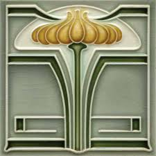 art nouveau stylised geometric tile ref 011
