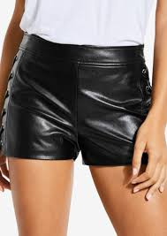 guess lace up faux leather shorts