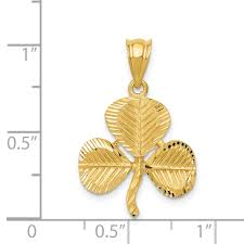 ice carats 14kt yellow gold shamrock pendant charm necklace good luck italian horn fine jewelry ideal gifts for women gift set from heart