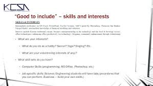 Hobby And Interest In Resume Skills And Interests Cv Examples Resume Sample Spacesheep Co
